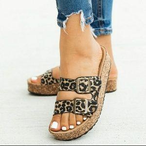 Leopard Print Bucks Platform Sandals